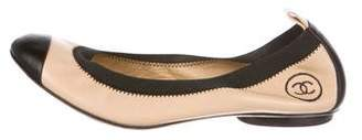 Chanel CC Leather Cap-Toe Flats