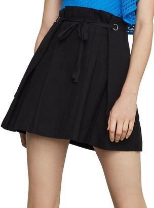 BCBGMAXAZRIA Tie-Front Linen & Cotton Blend Mini Skirt