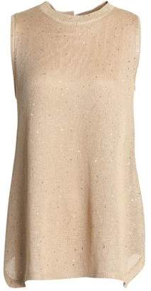 Brunello Cucinelli Sequined Linen And Silk-Blend Sweater