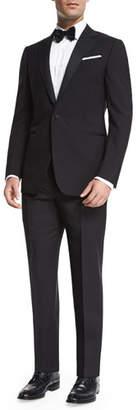 Ermenegildo Zegna Satin Notch-Lapel Wool Tuxedo, Black