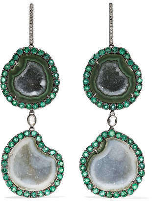Kimberly McDonald - 18-karat Blackened White Gold Multi-stone Earrings