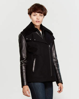 Intuition Paris Real Fur-Trimmed Bomber Jacket