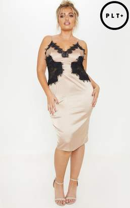 PrettyLittleThing Plus Champagne Satin Lace Insert Midi Dress