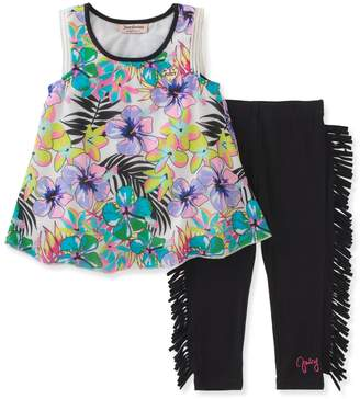 Juicy Couture Floral Top & Fringed Leggings Set