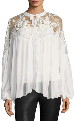 Allison Collection Embroidered Chiffon Blouse
