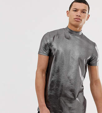 Asos Design DESIGN Tall festival t-shirt with turtle neck in animal metallic