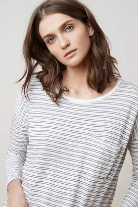 Velvet by Graham & Spencer MANUKA STRIPE COTTON KNIT 3/4 SLEEVE POCKET TEE