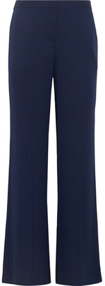 Diane von Furstenberg - Katara Stretch-silk Crepe Flared Pants - Navy $300 thestylecure.com