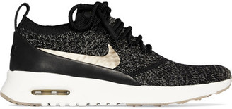 Nike - Air Max Thea Ultra Leather-trimmed Flyknit Sneakers - Black $180 thestylecure.com