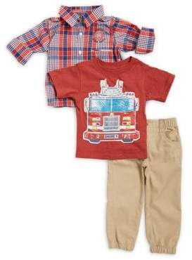 Nannette Little Boy's Three-Piece Plaid Collared Shirt, Graphic Tee and Elasticized Jogger Pants Set