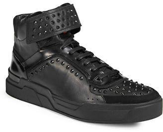 HUGO Symmetric Leather Stud Sneakers