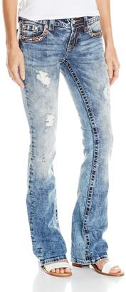 Miss Me Women's Color Embroidered Flap Pocket Boot Cut Jean