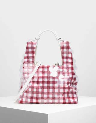Charles & Keith Check Print Sequin Bag