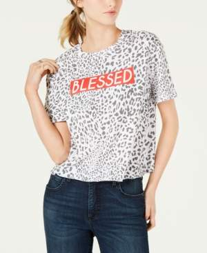 Rebellious One Juniors' Leopard Blessed Graphic T-Shirt