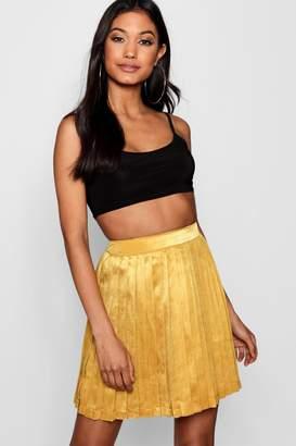 boohoo Satin Pleated Mini Skater Skirt