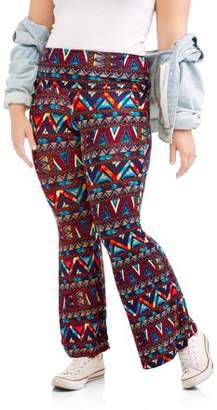 Eye Candy Junior Plus Printed Knit Flare with Foldover Waistband