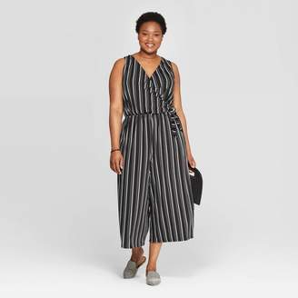 Ava & Viv Women's Plus Size Stripe Tie Detail Knit Jumpsuit - Ava & VivTM Black/White