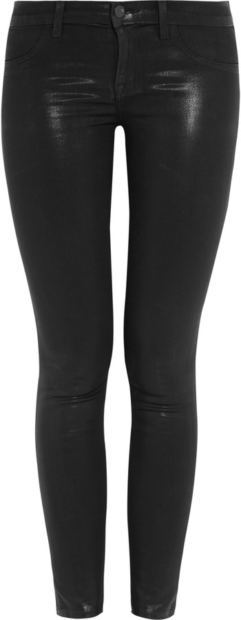 J Brand 901 waxed low-rise leggings-style jeans