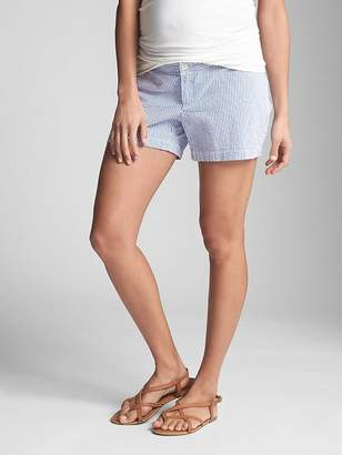 Gap Maternity Inset Panel Summer Shorts in Stretch Twill