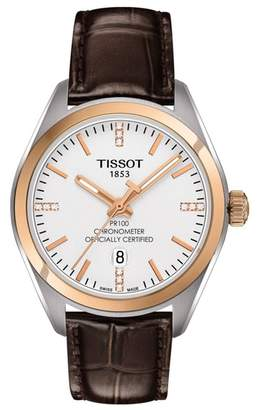 Tissot Women's PR 100 Lady COSC Diamond Accented Leather Watch, 33mm - 0.0456 ctw