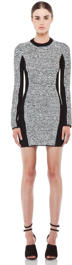 Alexander Wang Rubberized Tweed Long Sleeve Dress in Black