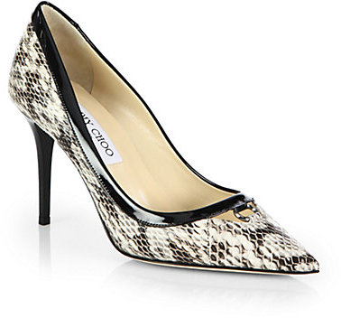 Jimmy Choo Hype Snakeskin & Patent Leather Point Toe Pumps