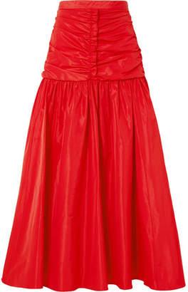 Stella McCartney Ruched Taffeta Maxi Skirt - Red