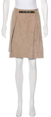 Yves Salomon Suede Belted Skirt