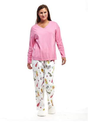 La Cera Plus-Size Knitted Flannel PJs - Plus