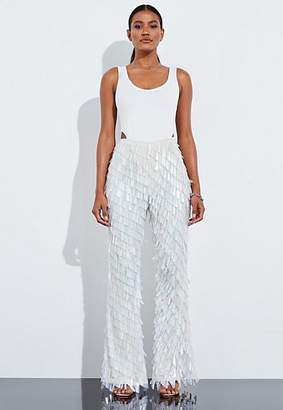 Missguided White Sequin Embellished Wide Leg Trousers