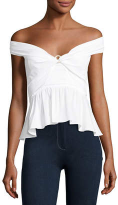 Peter Pilotto Off-Shoulder Peplum Top, White
