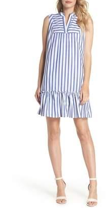Charles Henry Stripe Bib Front Sleeveless Shift Dress