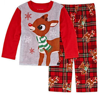Asstd National Brand Rudolph The Red Nose Reindeer 2 Piece Pajama Set- Unisex Kid's