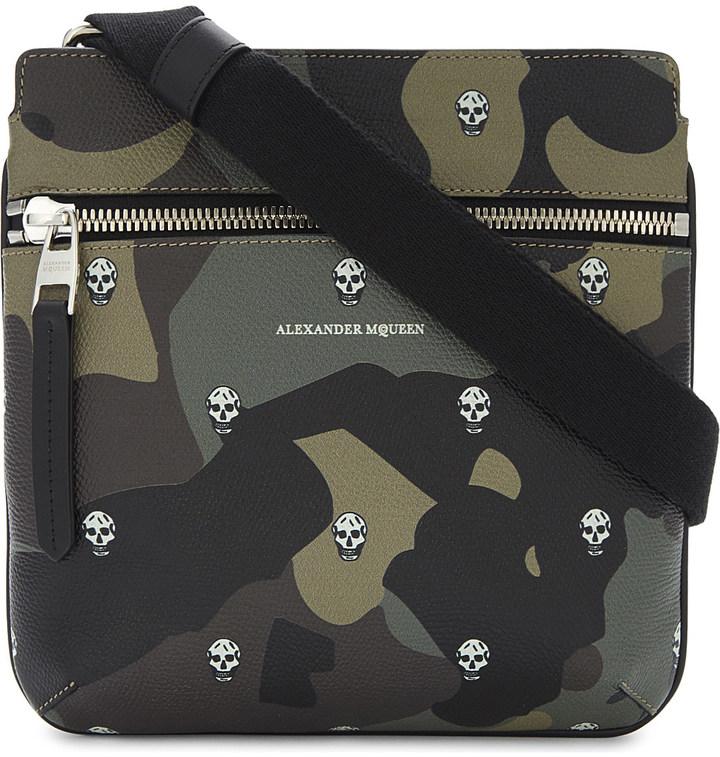 Alexander McQueenALEXANDER MCQUEEN Skull camouflage leather messenger bag