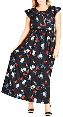 City Chic Plus Spring Garden Maxi Dress
