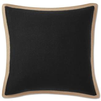 Williams-Sonoma Williams Sonoma Cashmere Pillow Cover with Contrast Edge, Caviar/Taupe