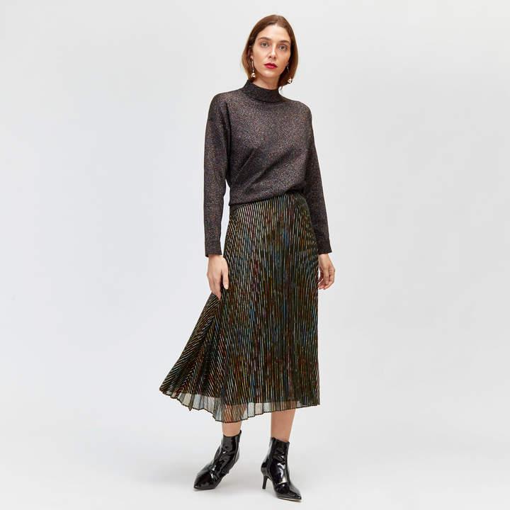 Rainbow Foil Pleated Skirt