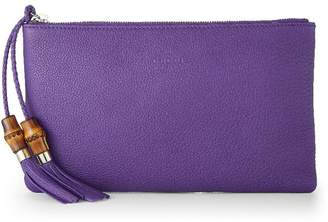 1740eef7c627 Gucci Purple Leather Bamboo Tassel Clutch