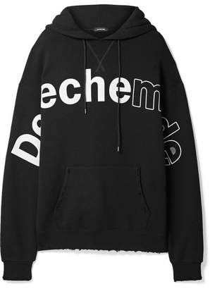 R 13 Oversized Printed Cotton-blend Jersey Hooded Top - Black