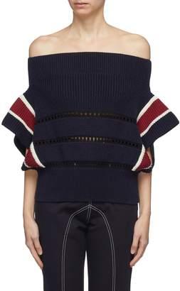 Self-Portrait Open knit trim colourblock off-shoulder sweater