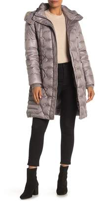 Andrew Marc Faux Fur Hood Belted Puffer Coat