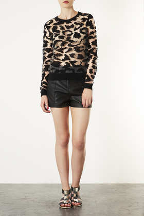 Topshop Knitted Burnout Animal Top