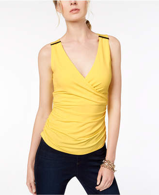 INC International Concepts I.N.C. Ruched Hardware-Embellished Top, Created for Macy's