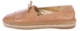 Prada Leather Round-Toe Espadrilles