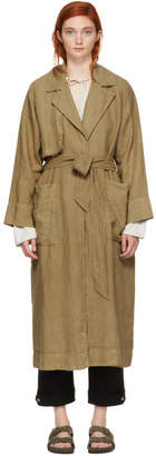 Raquel Allegra Brown Dyed Linen Trench Coat