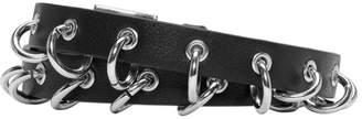 Valentino Black Garavani Leather Rings Double Wrap Bracelet