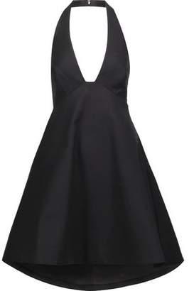 Halston Flared Stretch-Cotton Halterneck Mini Dress