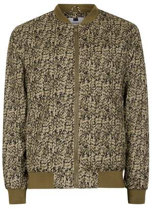 Topman Mens Green Khaki Abstract Camouflage Bomber Jacket