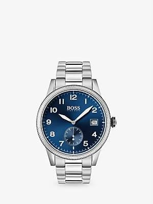 4ee8aad95 HUGO BOSS 1513707 Men's Legacy Date Bracelet Strap Watch, Silver/Blue