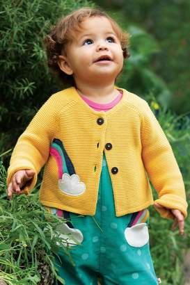 Frugi Girls Organic Knitted Cardigan With Rainbow Applique - Yellow